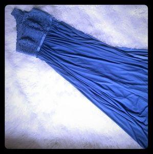 David's bridal long elegant blue dress
